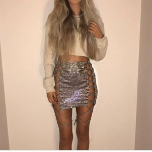 Missguided Carli Bybel blue grey lace mini skirt